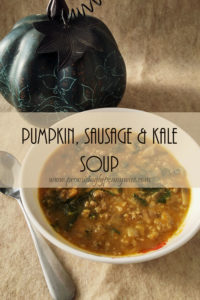 Pumpkin, Sausage and Kale Soup: With pumpkin, sausage, kale, mushrooms and sage, this savory Pumpkin, Sausage and Kale Soup is an irresistible fall recipe! @ www.promisinglypennywise.com