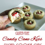 Gluten-Free Candy Cane Kiss Sugar Cookie Cups: White chocolate Candy Cane Kisses nestle inside sugar cookie cups in this easy, gluten-free Christmas cookie recipe.
